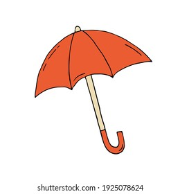 Orange umbrella. Vector hand-drawn doodle illustration