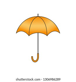 Orange umbrella. Vector isolated illustration on white background.