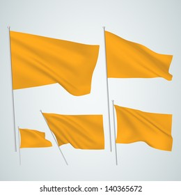 Orange vector flags. A set of 5 wavy 3D flags created using gradient meshes. EPS 8 vector