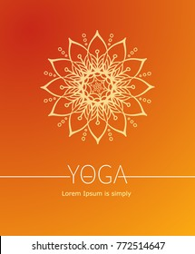 Orange Vector poster or cover for Yoga or Wellness center. Abstract a flower or the sun with rays as a symbol of life and health.