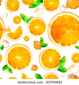 Orange vector seamless patterns of sliced ??fruit and leaves painted with watercolors on white background.