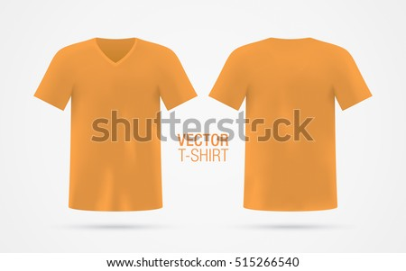 211473f70 Orange vector v-neck t-shirt template. Men's short sleeve t-shirt realistic  mockup, isolated on white background. Front & rear sides. - Vector