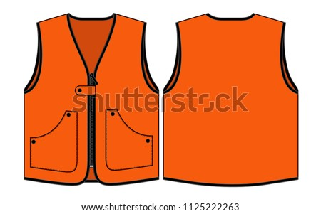 orange vest template front back view stock vector royalty free