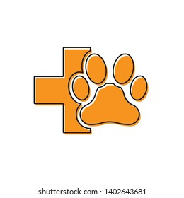 Orange Veterinary clinic symbol icon isolated on white background. Cross hospital sign. A stylized paw print dog or cat. Pet First Aid sign. Vector Illustration