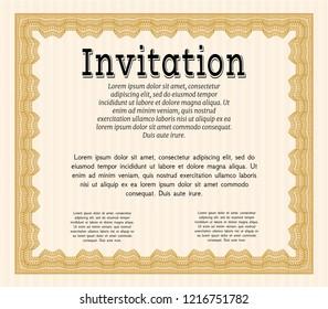 Orange Vintage invitation template. Complex background. Vector illustration. Artistry design.