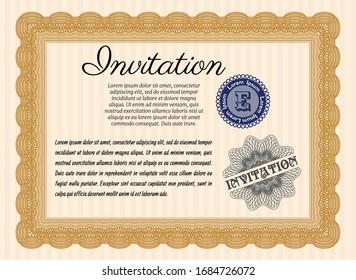 Orange Vintage invitation template. Complex background. Detailed. Lovely design.
