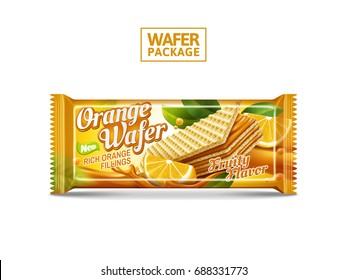 Orange wafer package design, crunchy biscuits foil bag design isolated on white background in 3d illustration