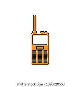 Orange Walkie talkie icon isolated on white background. Portable radio transmitter icon. Radio transceiver sign. Vector Illustration