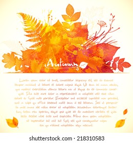 Orange watercolor painted leaves vector greeting card template