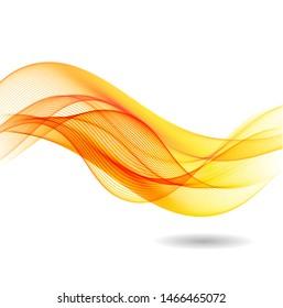 Orange waves on white background