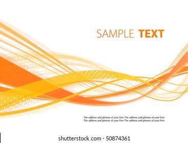 Orange wavy template. Vector