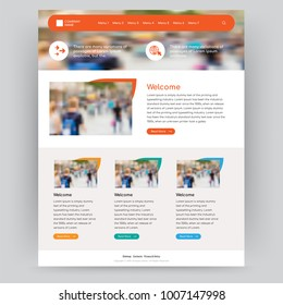 Orange website vector design template can be used for art & culture, animals, electronics, education & books, Business, Services, Cars, Medical, Blog and real estate