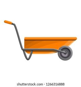 Orange wheelbarrow icon. Cartoon of orange wheelbarrow vector icon for web design isolated on white background