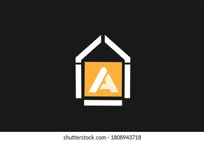 orange white black A alphabet letter logo icon. Design for company and business identity