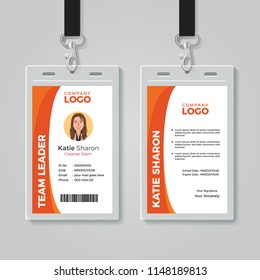 Orange and White Corporate ID Card Template