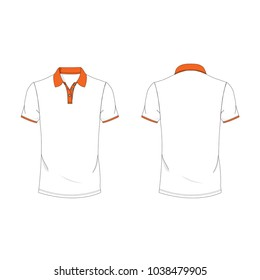 Orange and white polo T-shirt template using for fashion cloth design and assessorie for designer to make mock up or blue print in copany.