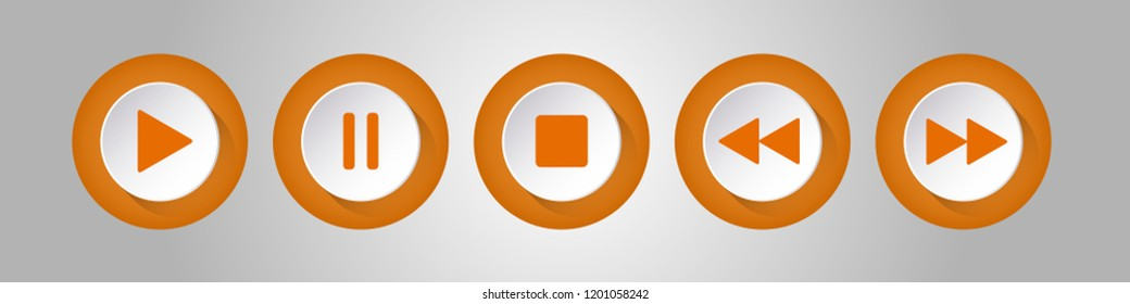 orange, white round music control buttons set - five icons with shadows in front of a silver background