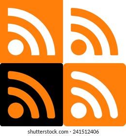 Orange And White Set Of Four Web Rss Feed Sign. Square Shape Icons On Black And White And Orange Background. Vector Illustration 10 EPS