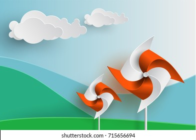 Orange and White Wind turbine on Mountain background in Paper cut Style