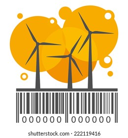 Orange wind power stations on barcode. Vector
