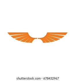 Orange wing flat icon for your design labels wing graphic and illustration