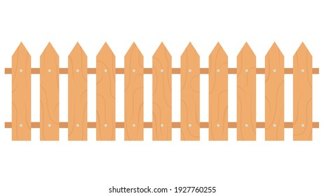 Orange wooden fence isolated on white background with parallel plank old. Vector illustration