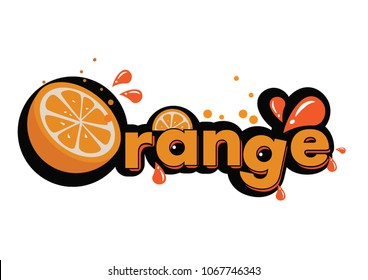 Orange word font fresh and splash 2d vector for screen t-shirt printing