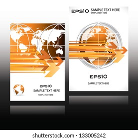 orange world globe business design magazine cover with arrows