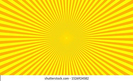 Orange yellow background superhero. Cartoon gradient texture. Sun rays burst. Radiate sun beam, burst effect retro. light flash boom. Sunlight starburst poster Vector illustration