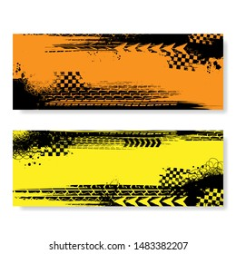 Orange and yellow banners set with black grunge tire tracks