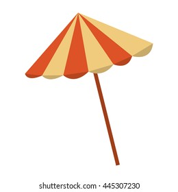 orange and yellow beach umbrella over isolated background, summer concept, vector illustration