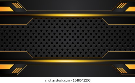 Orange yellow and black abstract metallic frame layout design tech innovation concept background. Vector graphic.