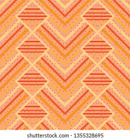 orange and yellow Chevron Pattern seamless tile with polka dots texture for beautiful surface designs, textile, fabric, background, wallpaper, templates, backdrops and decor. the tile is seamless