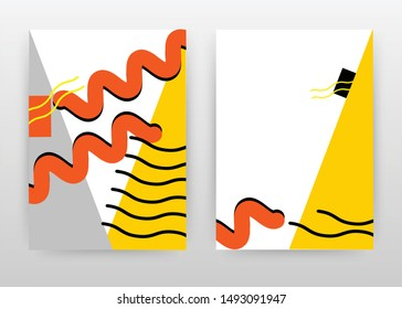 Orange yellow design for annual report, brochure, flyer, poster. Abstract yellow orange gray background vector illustration for flyer, leaflet, poster. Business abstract A4 brochure template.