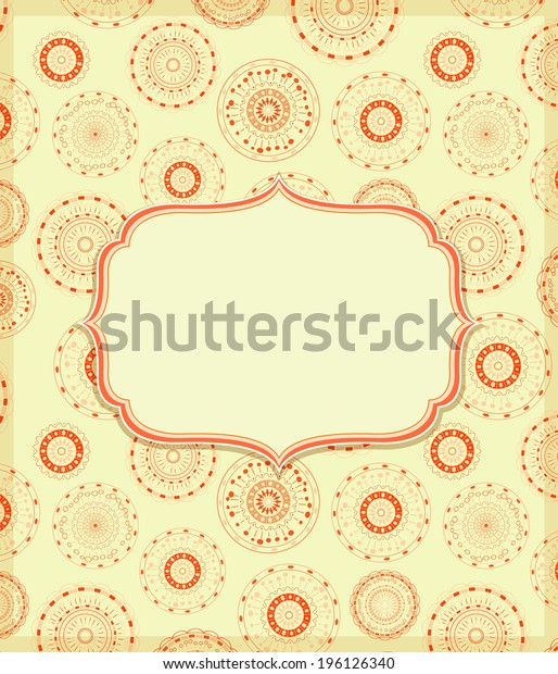 Orange Yellow Invitation Card with Vignette Label with Pattern Decoration