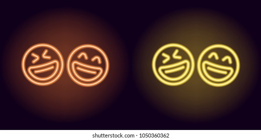 Orange and yellow neon laughing emoji, fool day. Vector silhouette of neon pair emoji with smile consisting of outlines, with backlight on the dark background