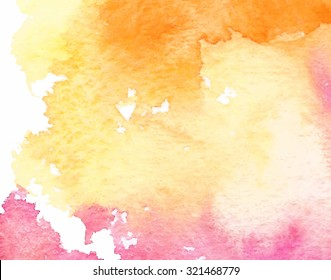 Orange yellow pink white watercolor paper texture vector background. Artistic brush painted banner. Hand drawn abstract illustration. Smudges art design element for card, cover, decoration, print