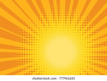 Orange and Yellow Pop Art Background. Positive joyful backdrop. Halftone sun design template. Vector Illustration.