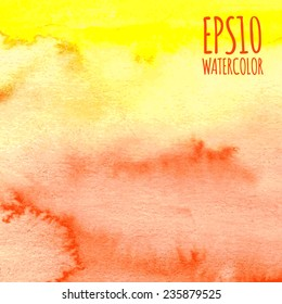 Orange, yellow and red summer watercolor gradient abstract vector background.