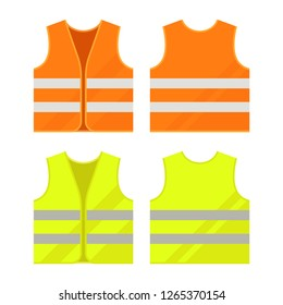 Orange, yellow reflective safety vest. Vector, isolated.