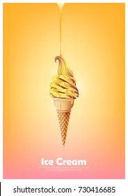 Orange yellow soft ice cream cone, Pour melted orange syrup, orange mango flavor, Vector illustration