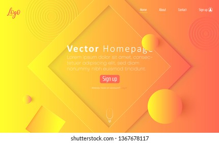Orange and yellow spectrum web homepage template with icons and abstract geometric pattern. Creative futuristic design. Vector background.