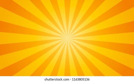 Orange And Yellow Sunburst Background - Vector Illustration