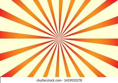 Orange yellow sunshine colorful vector background. Abstract sunburst swirl design wallpaper for template business social media advertising, banner, cover.