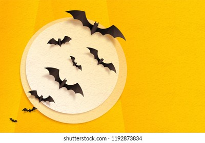 Orange and yellow textured craft paper moon and black bats, vector Halloween greeting card background