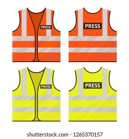 Orange, yellow vest. Journalist vest. Reflective safety vest. Vector, isolated.