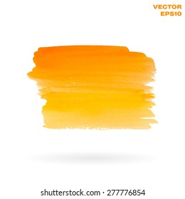 Orange and yellow watercolor hand painted shape design element. Bright and positive abstract background for your text. Vector Illustration EPS10.