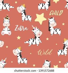 orange zebra seamless pattern with horn,unicorn and star