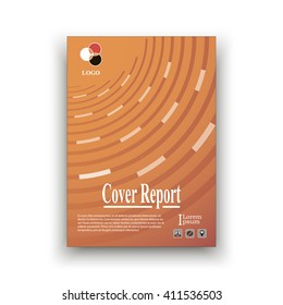 Orange-red cover on the basis of the Rings with the logo and icon example. Brochure template layout. title sheet. analytic publication. creative vector art. cover design annual report. colorful design