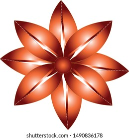 Orange-red flower with eight, elliptical petals and dark red center.